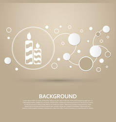 Candle icon on a brown background with elegant vector