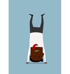 Cartoon businessman doing yoga handstand pose vector