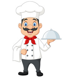 cartoon funny chef with a mustache vector image
