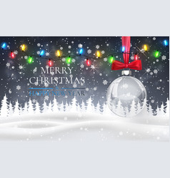 christmas ball with red bow snowy night woodland vector image