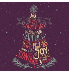 Christmas tree hand-lettering vector image