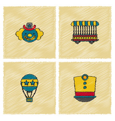 Circus icons collection in hatching style vector