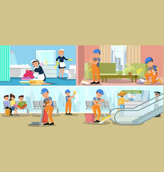 cleaning company service horizontal banners vector image