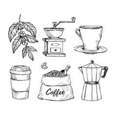 Coffee vintage hand drawn sketch set vector image