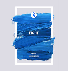 Colorectal cancer awareness creative grey and blue vector