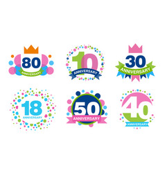 colorful anniversary labels collection 80 10 30 vector image