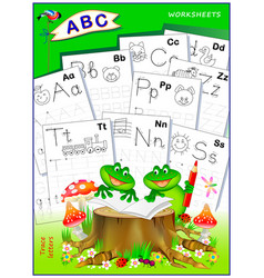 Cover for kids school workbook with exercises vector