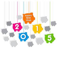 creative new year 2015 piggy bank theme design vector image
