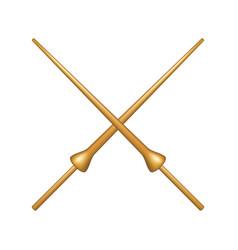 Crossed lances in wooden design vector