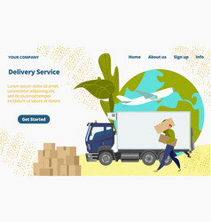 Delivery service male character loader concept vector