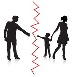 Divorce and separation of father and baby vector image