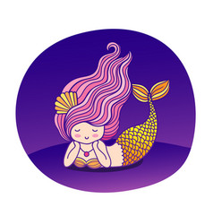 Dreamy lying cartoon mermaid with wavy purple hair vector