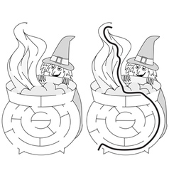 Easy witch maze vector