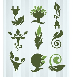 ecology and green energy collection vector image