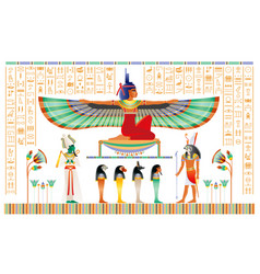 Egyptian papyrus with gods and goddess isis with vector