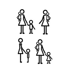 family members set lines figures vector image