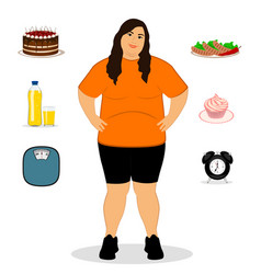 Fat woman unhealthy lifestyle vector