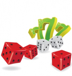 Five dice and lucky sevens vector
