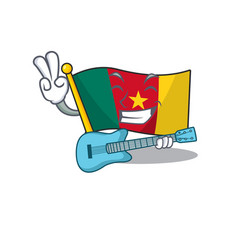 Flag cameroon mascot isolated with cute with vector