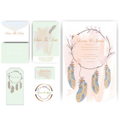 Flower and leaves wedding card and tag indian vector
