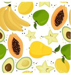 Fresh fruits seamless pattern bananas green vector