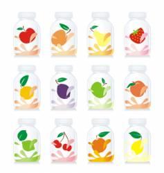 fruit yogurt glass bottles vector image