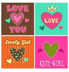 Funny girlish prints set vector image