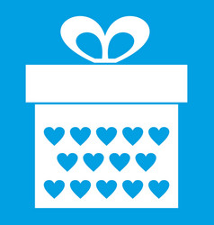 Gift box with ribbon bow icon white vector