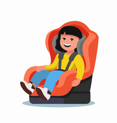 Girl sitting in car seat vector