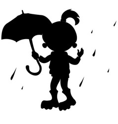 girl with umbrella silhouette vector image