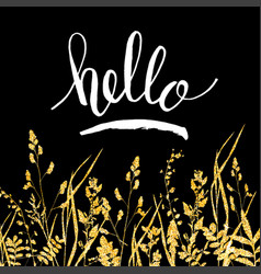 Glitter golden leaves card with hello hand vector