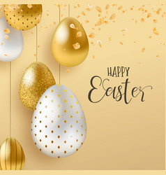 gold easter eggs and spring flower greeting card vector image