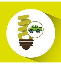 green ecology car concept bulb energy vector image