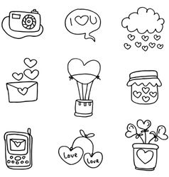 Hand draw of romance theme doodles vector