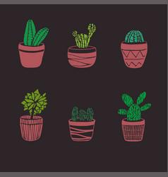 Hand drawn cactus set vector