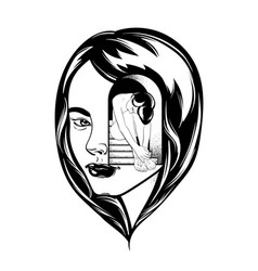 Hand drawn of beautiful woman surreal tattoo vector