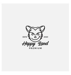 Happy cat forest head icon mascot logo design vector