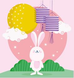 happy mid autumn festival cute bunny lanterns vector image