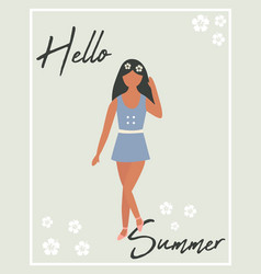 hello summer poster with pretty girl vector image