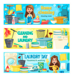 House cleaning laundry and home washing service vector