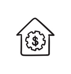 House with dollar symbol sketch icon vector