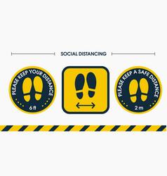 install a social distance floor sticker please vector image