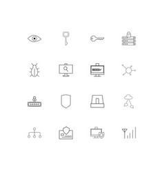 Internet security simple linear icons set vector