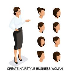 isometric businessmen set head vector image