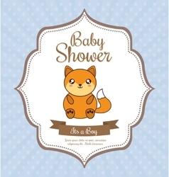 Kawaii fox Baby Shower design graphic vector
