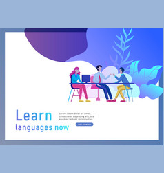 landing page templates for online language courses vector image
