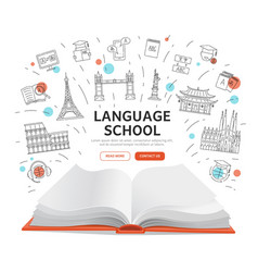 Language school landing page - open book with vector