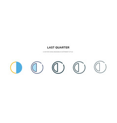 Last quarter icon in different style two colored vector