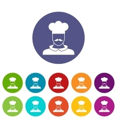 Male chef cook set icons vector image
