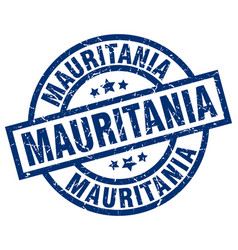 Mauritania blue round grunge stamp vector